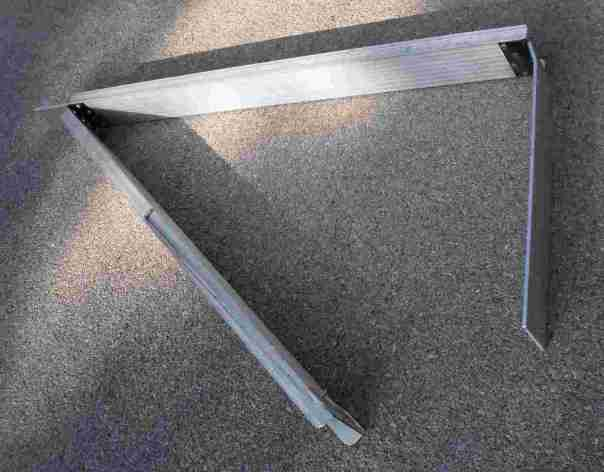 aluminum folding ramps partially unfolded