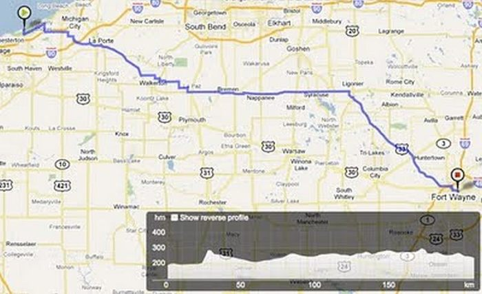 ROAM Chicago to Ft. Wayne route