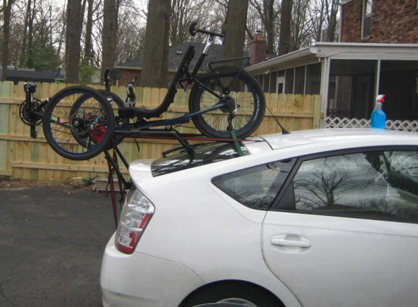 tadpole trike on conventional style bike carrier 2