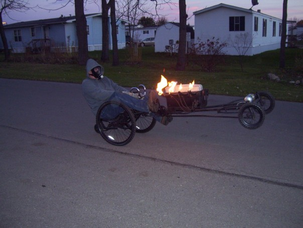 pedal power dragster with flames