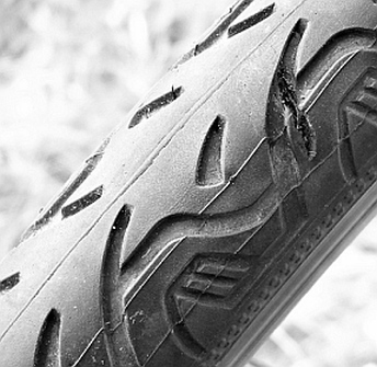 cut in bicycle tire