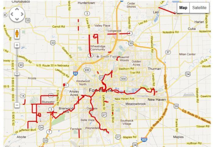 ft wayne trails map