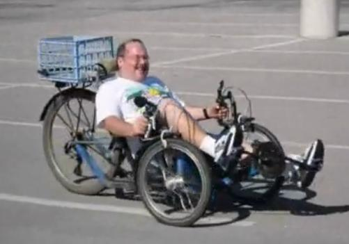 jerry on my homemade tadpole trike