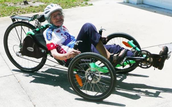 Phyllis Harmon riding her Catrike at age 94