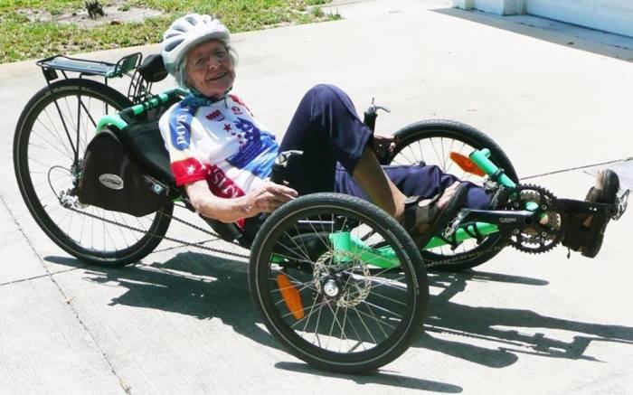 Phyllis Harmon riding her Catrike at age 94