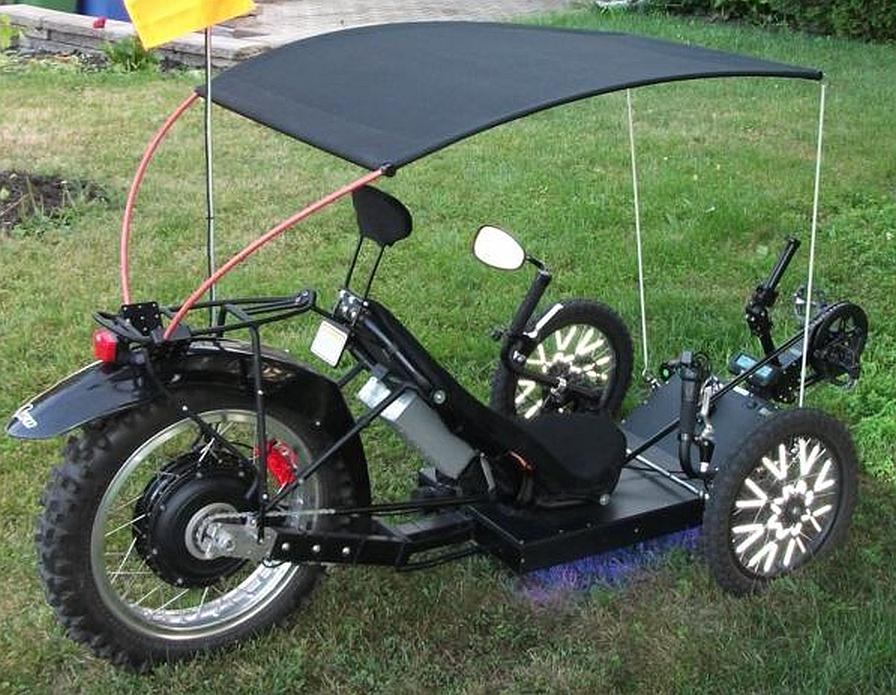 KMX motorized with canopy cropped & electric motorized recumbent trike | Tadpole Rider