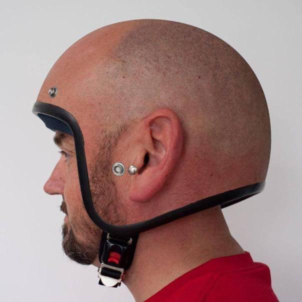 shaven head helmet