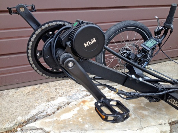 Bafang electric motor installed on KMX trike