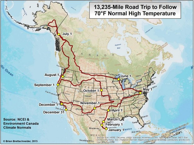 13,235 mile 70 degree road trip
