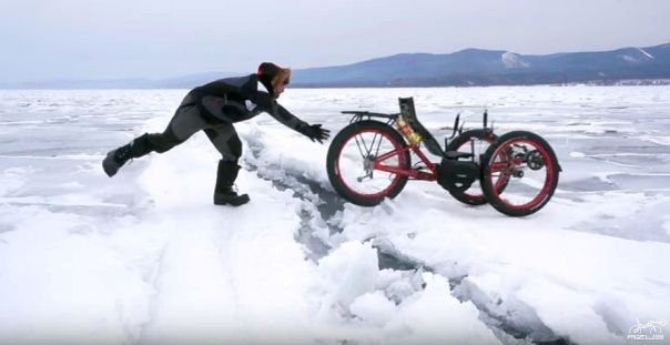 Azub FAT trike on frozen lake 11