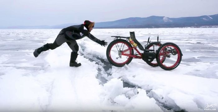 Azub FAT trike on frozen lake 11