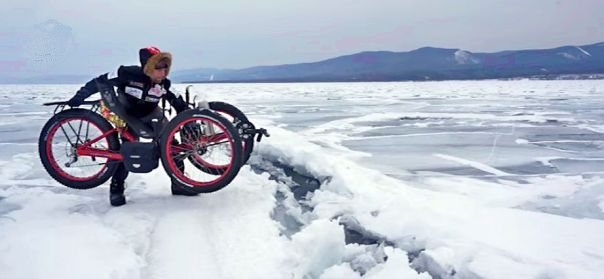 Azub FAT trike on frozen lake 15