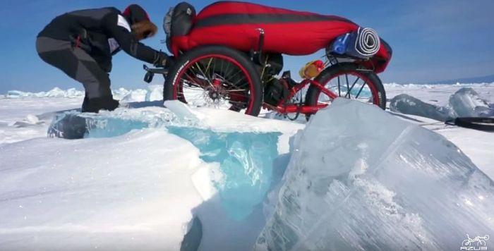 Azub FAT trike on frozen lake 16