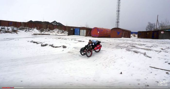 Azub FAT trike on frozen lake 18