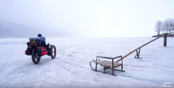 Azub FAT trike on frozen lake 19