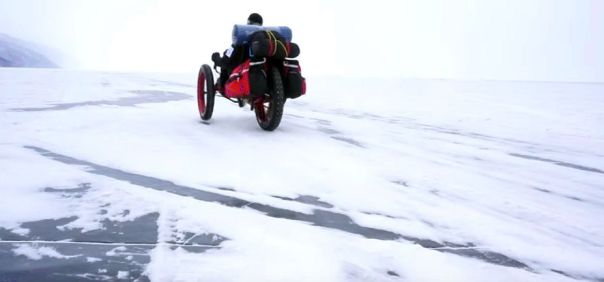 Azub FAT trike on frozen lake 20