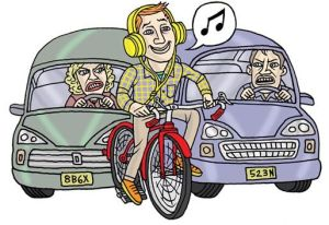 riding with headphones