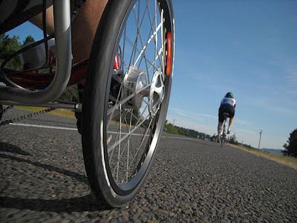 trike vs. bike climbing hill
