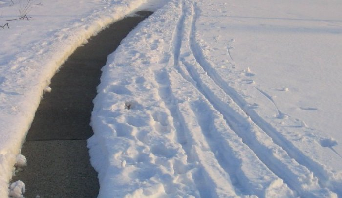 plowed path using v plow