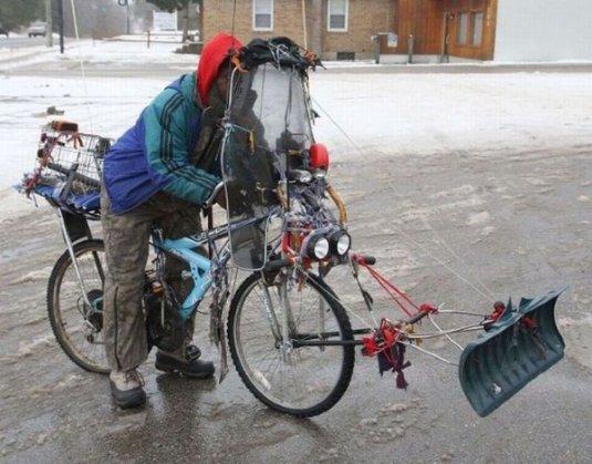 snow plow on bike