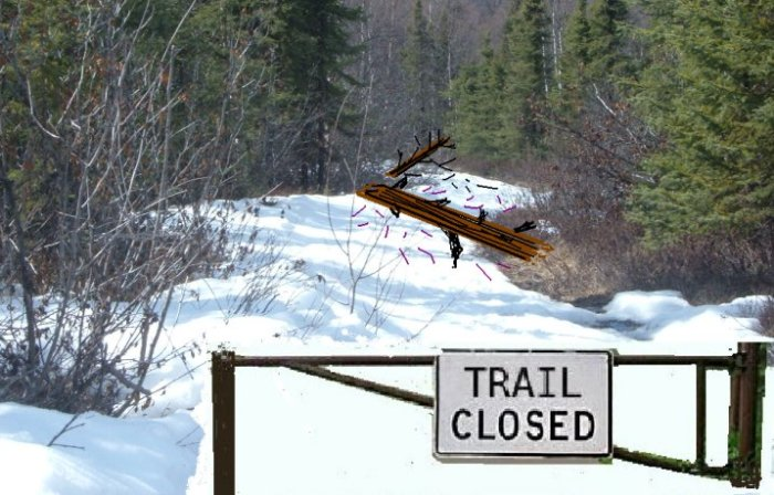 snow covered trail closed fallen trees reduced