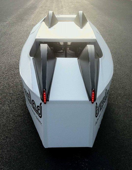 4 seat Trisled velomobile rear view