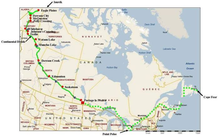 map of Dan's journey