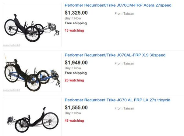 Performer trikes on Ebay