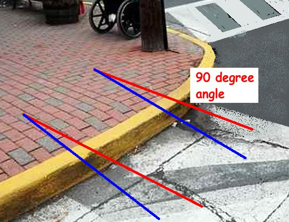 rounded curb at intersection with lines