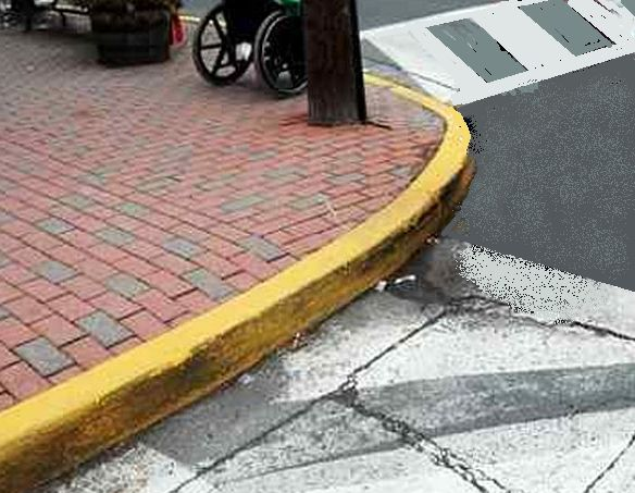 rounded curb at intersection