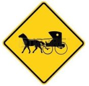 Amish horse & buggy warning sign