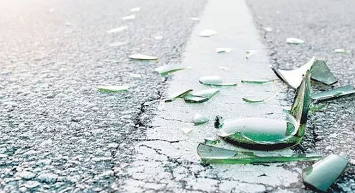 broken glass on pavement 2