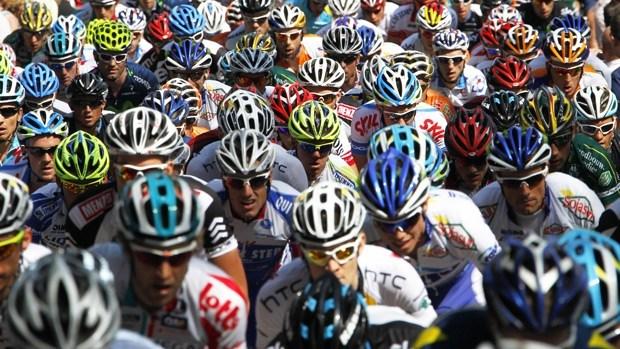 sea of bike helmets