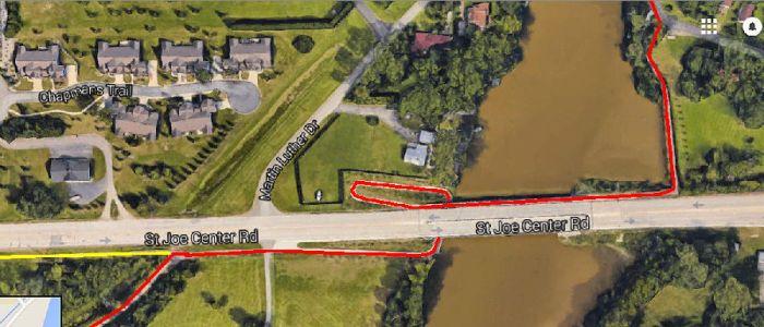 St. Joe Ctr. Rd. bridge Rivergreenway Trail marked