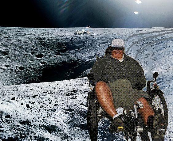 Steve on moon with lunar rover tire tracks