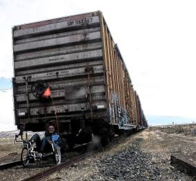 tadpole trike pulling train