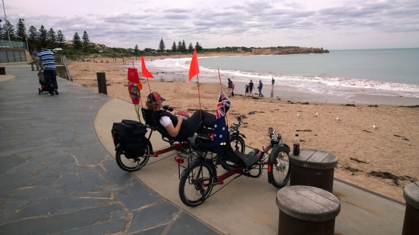 trikes stopped along beach