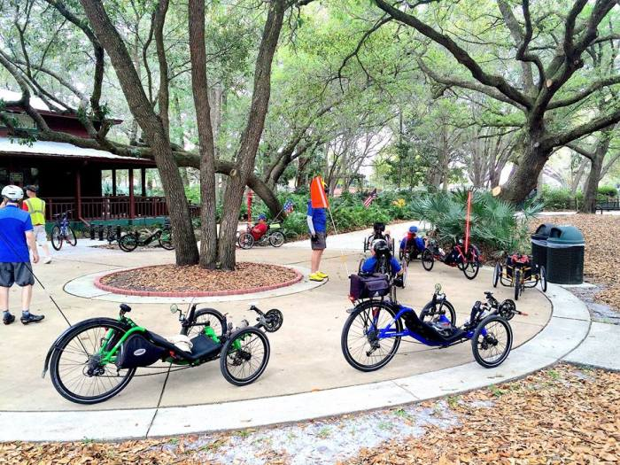 trikes stopped during group ride